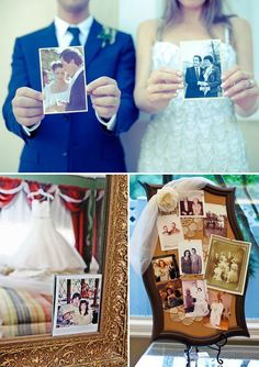 Honor your parents' marriage by incorporating their wedding-day photos. Whether it's one small photo tucked into your armoire or a dedicated corner at the sign-in table, they'll appreciate the sentimental touch!