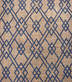 Utility Fabric- Burlap Square Geo Navy Burlap