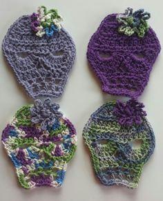 Crocheted sugar skull coasters www.etsy.com/shop/DuchessofCrochet
