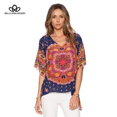 2015 New Summer Autumn Europe and America Ethnic Style Vintage Totem Print Batwing Short-Sleeved V Neck Women's Loose T-Shirt