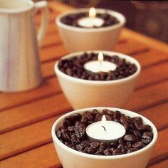 coffee scented candles for party tables
