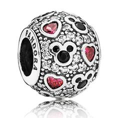 Mickey Mouse ''Sparkling Mickey & Hearts'' Charm by PANDORA - Christmas 2014