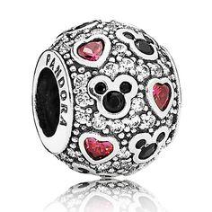 Mickey Mouse ''Sparkling Mickey & Hearts'' Charm by PANDORA   Disney Store