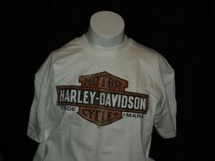 RARE Harley Davidson Ahead of the Pack white mens t shirt ~ montana #harleydavdison #GraphicTee