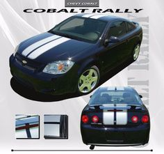 "2005-2010 Chevy Cobalt 8/"" Rally Racing Stripes Decal Sticker Vinyl Wrap Hood"