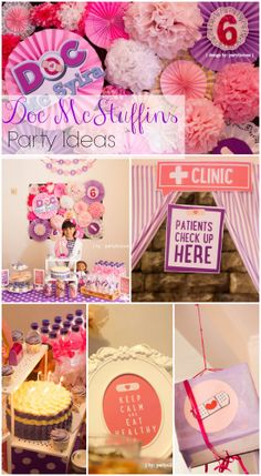 Doc McStuffins birthday party ideas, perfect for a girl birthday! See more party… Doc Mcstuffins Birthday Party, 4th Birthday Parties, Birthday Fun, Birthday Ideas, Lila Party, Baby Shower, First Birthdays, Party Time, Party Ideas