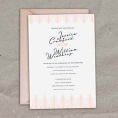 Pink modern Art Deco invite, but calligraphy for the names?