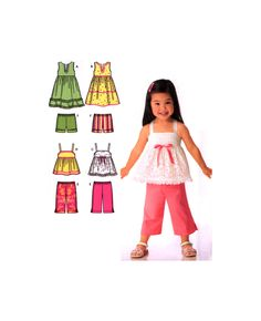 06 Simplicity 4203 Toddlers' Summer Wear: Dresses, Cropped Pants, Shorts and Top, Uncut, Factory Folded, Sewing Pattern Size 1/2-4 Summer Wear, Cropped Pants, Toddlers, Sewing Patterns, Crop Tops, Shorts, Children, How To Wear, Dresses