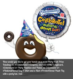 How would you like to get your hands on one of those sweet Party Pack Prizes (5) $7 #Entenmann's Coupons, one $25 #AMEX #giftcard, Entenmann's® Party Napkins and Plates, an Entenmann's® #NationalDonutDay T-Shirt and a Rich Frosted #Donut #PlushToy with a party hat. #Ad