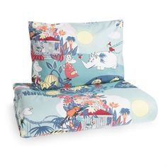 Jungle Moomin bed set children - blue-coral - Finlayson