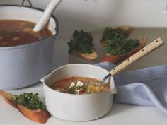 Quick Summer Squash Soup with Pesto and Kale Crostini…