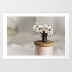 White Violets in a Thimble Art Print by Bobbi Lewin - $18.00