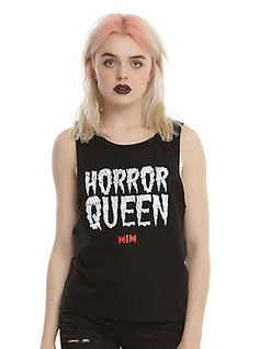 Motionless In White Horror Queen Girls Muscle Top, BLACK