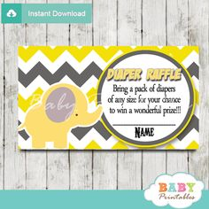 Printable yellow and gray Elephant Baby Shower Game Diaper Raffle Tickets. #babyprintables