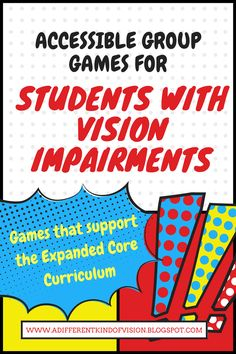 I've posted another list of accessible group games/teambuilding activities and ice breakers that are easily played for students with vision impairments. These games all support the Expanded Core and require little equipment. List Of Activities, Team Building Activities, Bible Activities, Teamwork Activities, 2nd Commandment, Visually Impaired Activities, Braille, Core Curriculum, Ice Breakers