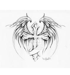 cross with wings tattoo design by MarinaAlex.deviantart.com on @deviantART