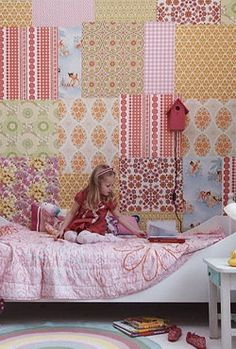 patchwork wallpaper and birdhouse lamp