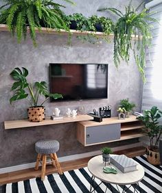 Living Room Tv, Apartment Living, Home And Living, Living Room With Plants, Modern Living, Tv Wall Decor, Wall Art, House Plants Decor, House Rooms