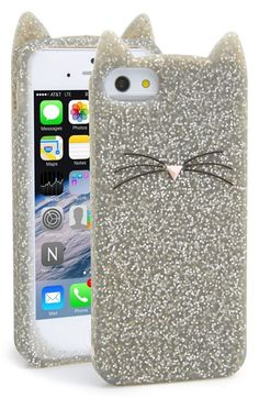 Kate Spade | 'glitter cat' iPhone 5 & 5s case