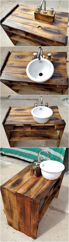 It is an appreciable craft project to be implemented if you are suffering from shortage of kitchen area. This tiny reused wood pallet sink serves performing multiple tasks for your ease by storing kitchen items in its shelves and by solving your space saving problem through its little size. This little package contains great functionality hence making it a best craft for your kitchen.