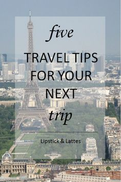 Five Travel Tips for Your Next Trip by Lipstick & Lattes [[MORE]]Hi loves! Traveling is one of my favourite things to do and I take every chance I can get to do so. Paris Skyline, Latte, Travel Tips, Things To Do, Traveling, Lipstick, Things To Make, Viajes, Lipsticks