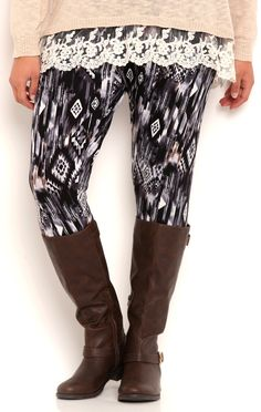 Deb Shops Plus Size Leggings with Blurred Tribal Print $10.00