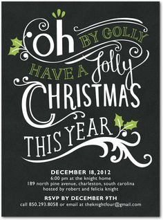 Oh By Golly Christmas Party Invitation