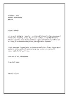 Cover Letter Sample For Job Application Fresh Graduate  Http