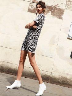 Womens Glamorous Animal Print Shift Dress - Black  a359a0808