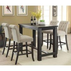 Furniture of America Ullen Antique Black Bar Table - The Home Depot Round Pedestal Dining Table, Dining Room Table, Table And Chairs, Banquette Dining, Dinning Set, High Chairs, Kitchen Tables, Small Dining, Bar Table Sets
