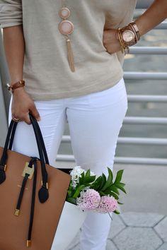 "Chic neutrals + colorblock  accessories   Michael Kors ""Miranda"" Collection Handbag   Sage + Sparkle"