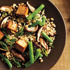 Toasted Barley, Green Bean, and Shiitake Salad with Tofu | Toasting the barley before it boils brings out nutty flavor. | CookingLight