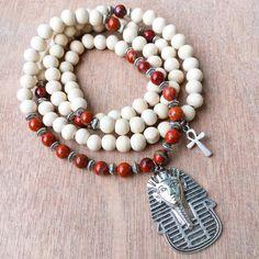 Egyptian 108 Mala Bead Necklace | Red Jasper & White Wood Pharoah Ankh Japa Mala | Meditation Yoga Prayer Beads | Horus, King Tut, Cleopatra by MayanRoseShop Mayan Rose on Etsy