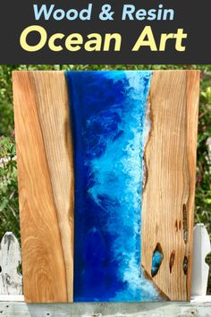In this resin ocean wave art tutorial, learn how to make resin waves in transparent blue epoxy resin surrounded by reclaimed cypress wood. via Do-Daddy DIY art diy art easy art ideas art painted art projects Epoxy Resin Table, Epoxy Resin Art, Diy Resin Art, Diy Epoxy, Diy Resin Crafts, Wood Resin, Diy Resin Light, Resin And Wood Diy, Diy Wood
