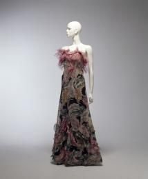 Evening dress and cape, cotton / ostrich feather, Coco Chanel, Paris, France, c. 1938