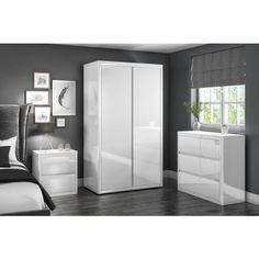 Buy Lexi White High Gloss Double Wardrobe from - the UK's leading online furniture and bed store Furniture 123, Large Furniture, Online Furniture, Wardrobe Bed, White Wardrobe, Closet Bedroom, Home Bedroom, Bedroom Ideas, Master Bedroom