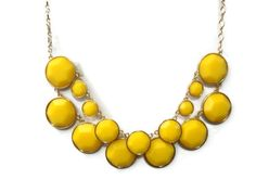 Yellow Statement Necklace, Yellow Circle Bauble Necklace, Anthropologie Inspired Necklace, Yellow Bib Necklace, Gift, Bridesmaid, Fashion on Etsy, $14.00