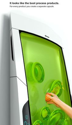 Designed by Yuriy Dmitriev, the Electrolux Bio Robot Refrigerator. It cools biopolymer gel through luminescence. The non-sticky gel surrounds food items when shoved into the gel, creating separate pods. No doors or drawers; food items are individually cooled at their own optimal temperature.