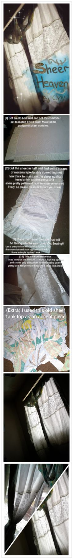 DIY: Sheer curtains project using an old bed skirt! Try it out, it's pretty and simple!  Perfect idea for crafty people with a very tight budget trying to dress a new house or apartment! #decorating #curtains #homeimprovement #lace #simple #apartment #house #Windows #sheer #DIY #projects #creative #recycling