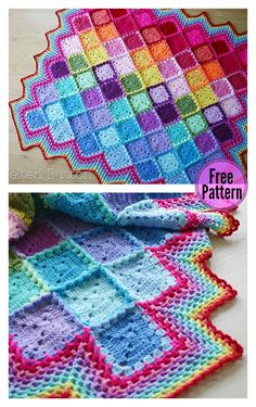 Crochet Afghan Patterns Happy Harlequin Blanket Free Crochet Pattern - If you are looking for a crochet travel project, this Happy Harlequin Blanket Free Crochet Pattern is for you. It adds a splash of happy color to any space. Crochet Afghans, Motifs Afghans, Afghan Crochet Patterns, Knitting Patterns, Crochet Blankets, Granny Square Häkelanleitung, Granny Square Crochet Pattern, Crochet Squares, Crochet Granny