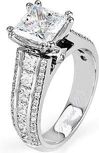 FlyerFit Three Stone Princess Cut & Pave Engagement Ring 5137SPR