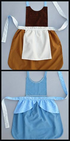 Cinderella reversible play apron by Three Small Seeds. One side is her servant's outfit, and the other is her beautiful ball gown. Twice the fun in one easy-to-put-on costume! Diy Cinderella Costume, Cinderella Dresses, Disney Dresses, Cinderella Play, Disney Aprons, Robes Disney, Disney Princess Aprons, Princess Dress Up Diy, Disney Princesses