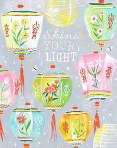 Shine Your Light Art Print | Chinese Lanterns | Katie Daisy Wall Art | 8x10…