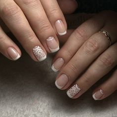 French manicure for short nails. 40 Ph … – Gibbons Brows French manicure for short nails. 40 Ph … French manicure for short nails. Short Nail Manicure, Manicure And Pedicure, Short Nails, Hair And Nails, My Nails, Nagellack Trends, Lace Nails, Wedding Nails Design, Bride Nails