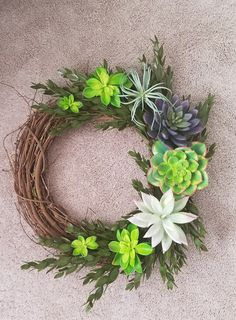 Diy faux succulent wreath greenery