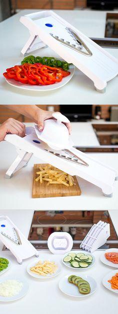 Mandolina profesional de cocina BRUMA 5 en 1 - Incluye cuchillas de acero Inoxidable con 5 tipos de corte en V de alta calidad - Rebanador Cortador y Troceador de alimentos fruta y verdura en rodajas, en Juliana y en tiras