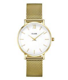 Cluse horloge Minuit Mesh Gold White CL30010 op Wereldhorloges.nl! #cluse #clusewatch