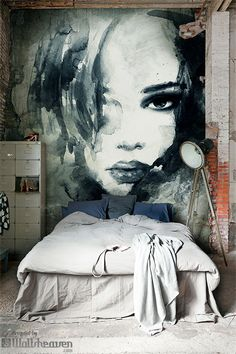 Like the artwork ~Stunning interiors. Home design with style from Wallsheaven Art Mural, Wall Murals, Wall Art, Master Bedroom Design, Bedroom Art, Bedroom Rustic, Industrial Bedroom, Bedroom Ideas, Industrial Interiors