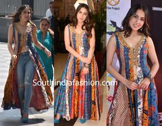 Sara Ali Khan attended an event recently wearing a multi-colored slit kurta by Ritu Kumar with blue jeans. A pair of blue suede pumps, silver jewelry and wavy hair rounded out her look! Pakistani Dress Design, Pakistani Dresses, Indian Dresses, Indian Outfits, Ethnic Outfits, India Fashion, Suit Fashion, Fashion Outfits, Womens Fashion