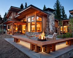 Log Cabin Kitchens Design, Pictures, Remodel, Decor and Ideas Another fire pit idea-SR